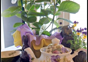A little springtime kitchen vignette on My Humble Home and Garden.com