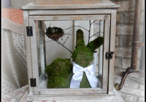 DIY Moss Covered Bunny and Lantern on My Humble Home and Garden.com