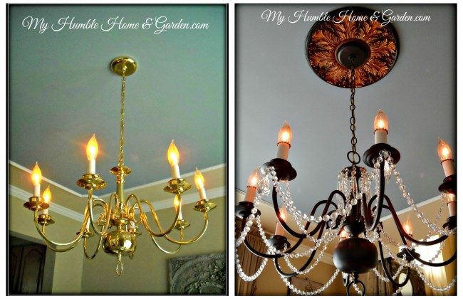 Painted Chandelier on MyHumbleHomeandGarden.com