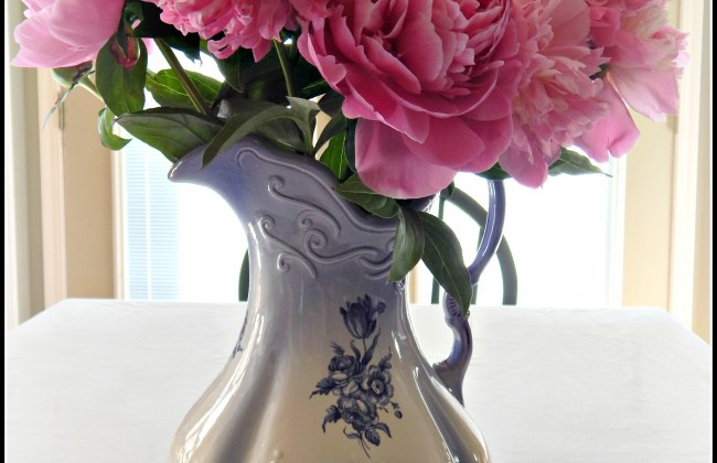 Peonies in a beautiful pitcher on MyHumbleHomeandGarden.com